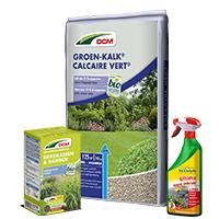 Assortiment plantenvoeding, meststoffen, kalk, potgrond en bestrijdingsmiddelen